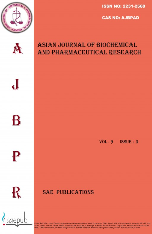 Asian Journal of Biochemical and Pharmaceutical Research